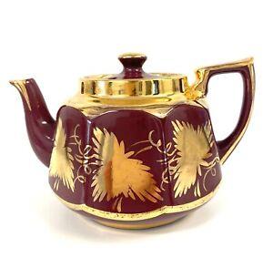 Price-Bros-England-Teapot-Burgundy-w-Heavy-Gold-Leaf-630-4-034-Tall-7-5-034-Wide