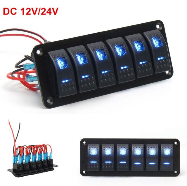 car boat marine rv 6 gang blue dual led light bar rocker switch rh ebay com
