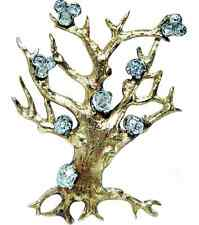 Rare Antique Old Miner Mine cut OMC Diamond Tree of Life Brooch 18K Gold Box