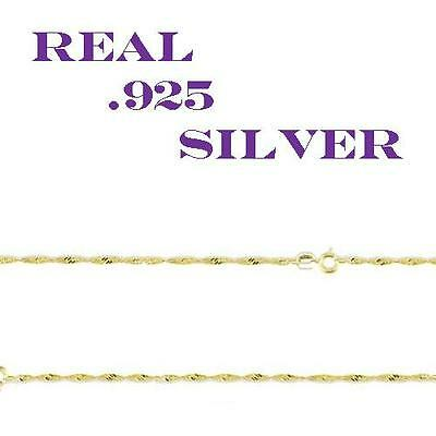 18K Gold over Sterling Silver Thin WAVE Chain Necklace for Pendants ALL SIZES