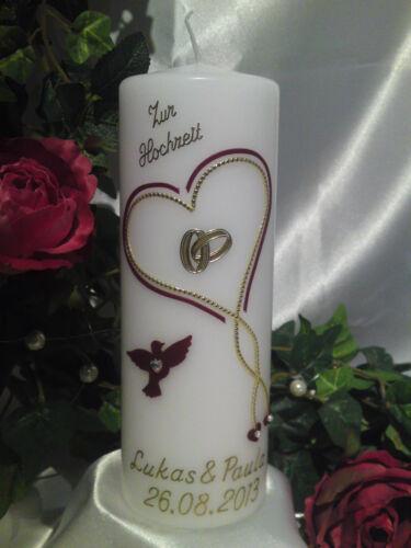 Hochzeitskerze 200//70mm Weinrot//Gold sehr Edel Top Neu 2013 H004
