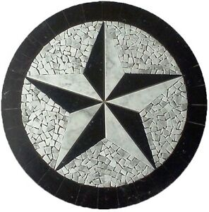 Floor-Marble-Round-Medallion-Carrara-Texas-Star-Tile-Mosaic-42-in