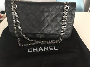 de2d71e8bca2 Chanel 2.55 Reissue Double Flap Black Caviar Jumbo Shoulder Bag | eBay