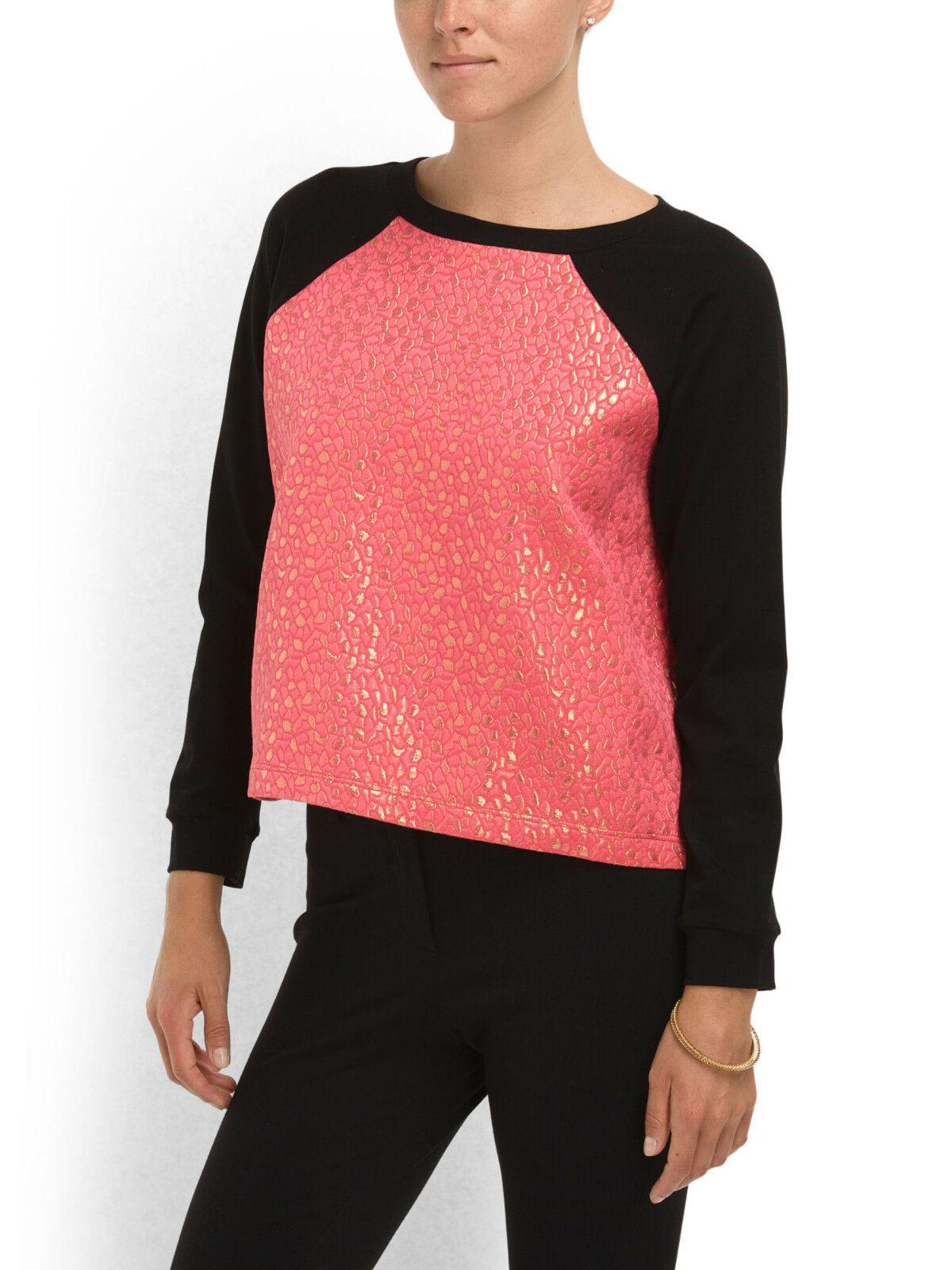 Cut25 Yigal Azrouel Metallic Jacquard Sweatshirt Top in Melon rot-NWT-RP  +