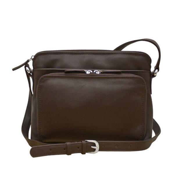 Ili 6333 Womens Leather Shoulder Handbag W Side Organizer Brown