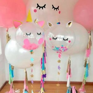 Details About Gold Pink Transparent Unicorn Balloons Feather Kids Birthday Party Room Decor