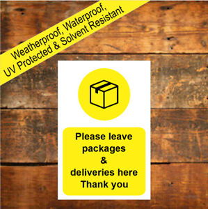 Please leave packages & deliveries here Thank you sign or sticker 9688