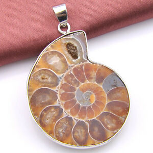 Holiday-Gift-Natural-Handmade-Ammonite-Fossil-Gemstone-Silver-Pendant-necklace
