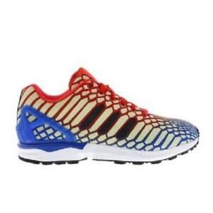 71127aa260584 Mens ADIDAS ZX FLUX Nylon HI-VIZ Red Blue Synthetic Trainers AQ4533 ...