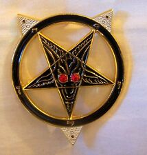 Satanic Cult Secret Society Badge Agent NWO Baphomet Zodiac Occult Pentagram 666