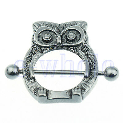 Pair Owl Nipple Shield Bar Ring Body Jewellery Nipple Piercing 14G TW