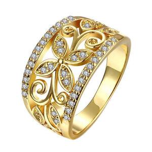 18k Gold Filled Ring Finger Band Wedding Rings Cz Zircon Women