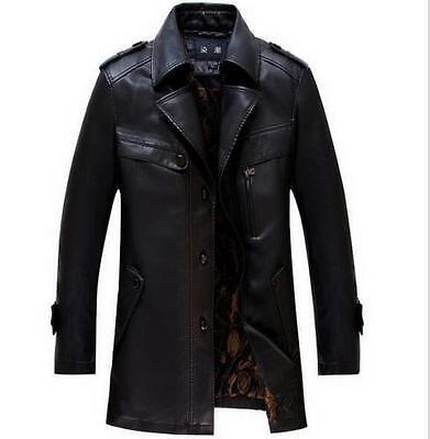 Mens business leather Parka winter Warm Coat Outerwear trhicken Jacket overcoat