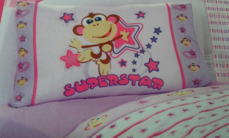 "2 American Kids Pillow Case Superstar Monkey Front /& Solid Purple Back 20/"" x 30/"""