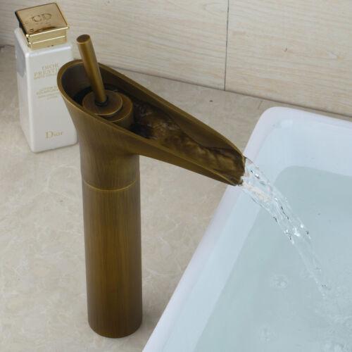 Bathroom Basin Vanity Waterfall Sink Mixer Tap Antique Brass Faucet Deck Mount