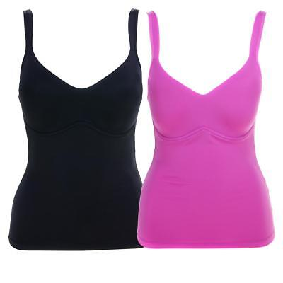 586-078 Rhonda Shear Everyday Molded Cup 2pk Camisole 1X Black//RoseViolet