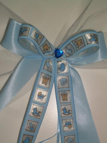 Wunderschöne Schleife Baby Junge Boy Taufe Geburt Geschenk Kerze blau Tüll X6