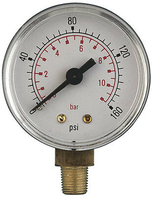 Air Pressure Gauges 2 Inch Diameter Bottom Entry ABS and Brass, up to 3/8 Bsp,