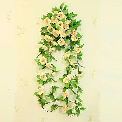 8Ft Artificial Fake Silk Rose Flower Ivy Vine Hanging Garland Wedding Home Decor