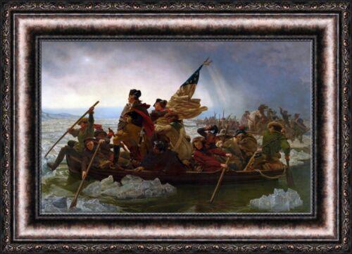 "V05-08 Emanuel Leutze Washington Crossing the Delaware Framed Canvas 27/""x19/"""