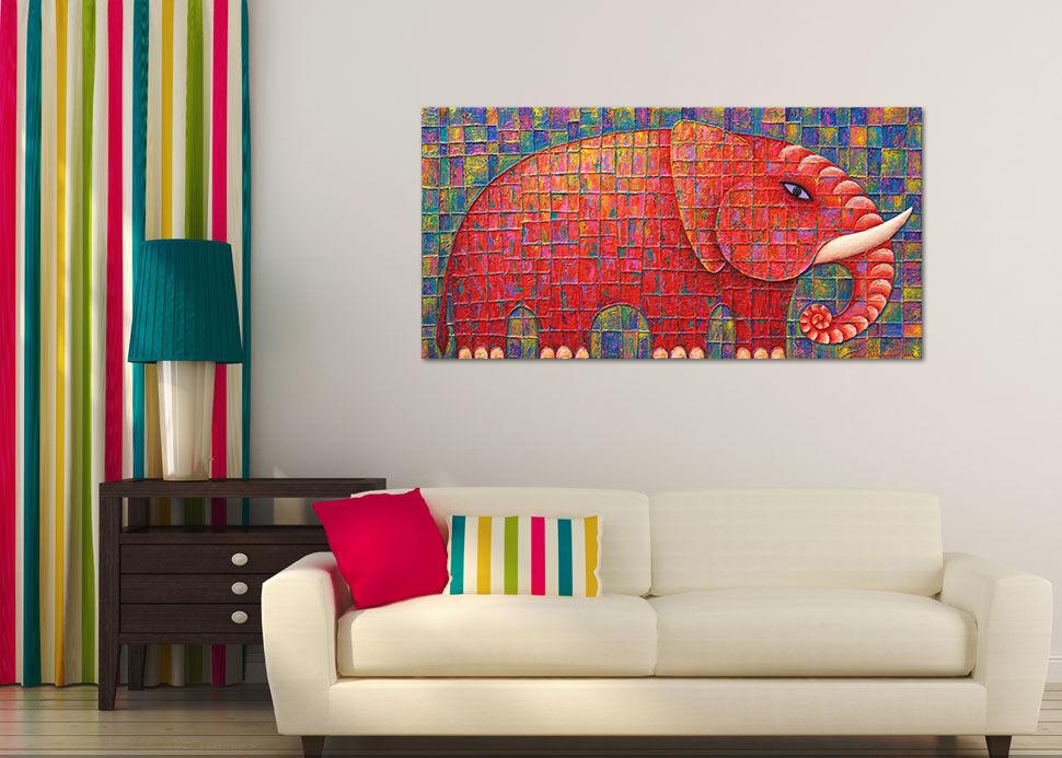 3D Roter Karierter Elefant 742  Fototapeten Wandbild BildTapete AJSTORE DE Lemon