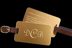Solid Brass Luggage Tag Leather Strap Free Engraving