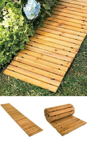 Wooden Garden Pathway Walkway 8 Ft Cedar Straight Lawn Roll Up Weather Resistant