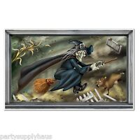 Halloween Flying Wicked Witch Scene Party Decoration Photo Prop Booth