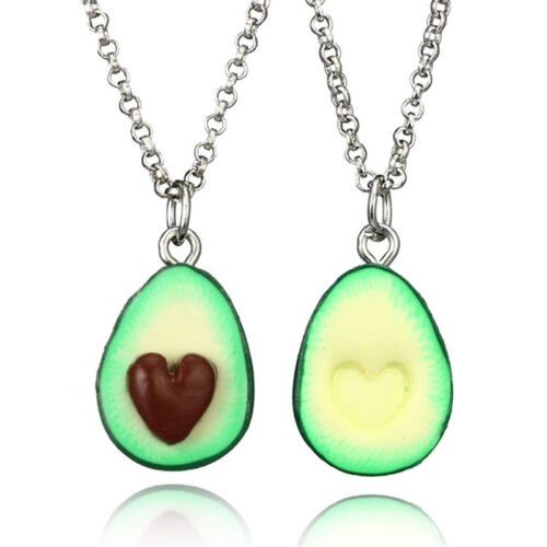Handmade Polymer Clay Avocado Heart Pendant Necklace Best Friend Gift JDUK