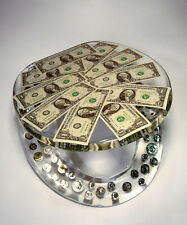 REAL U.S. DOLLARS COINS MONEY LUCITE RESIN TOILET SEAT