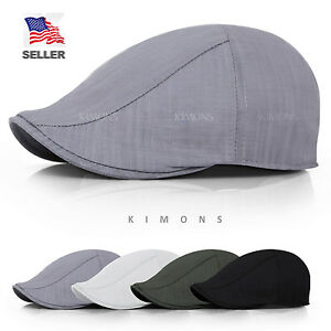 b5d6c0c86d7 Linen Cotton Gatsby Cap Mens Ivy Hat Golf Driving Summer Sun Flat ...