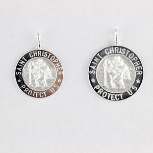 Solid-Sterling-Silver-925-Saint-Christopher-Round-Medal-Icon-Pendant-Italy-Made