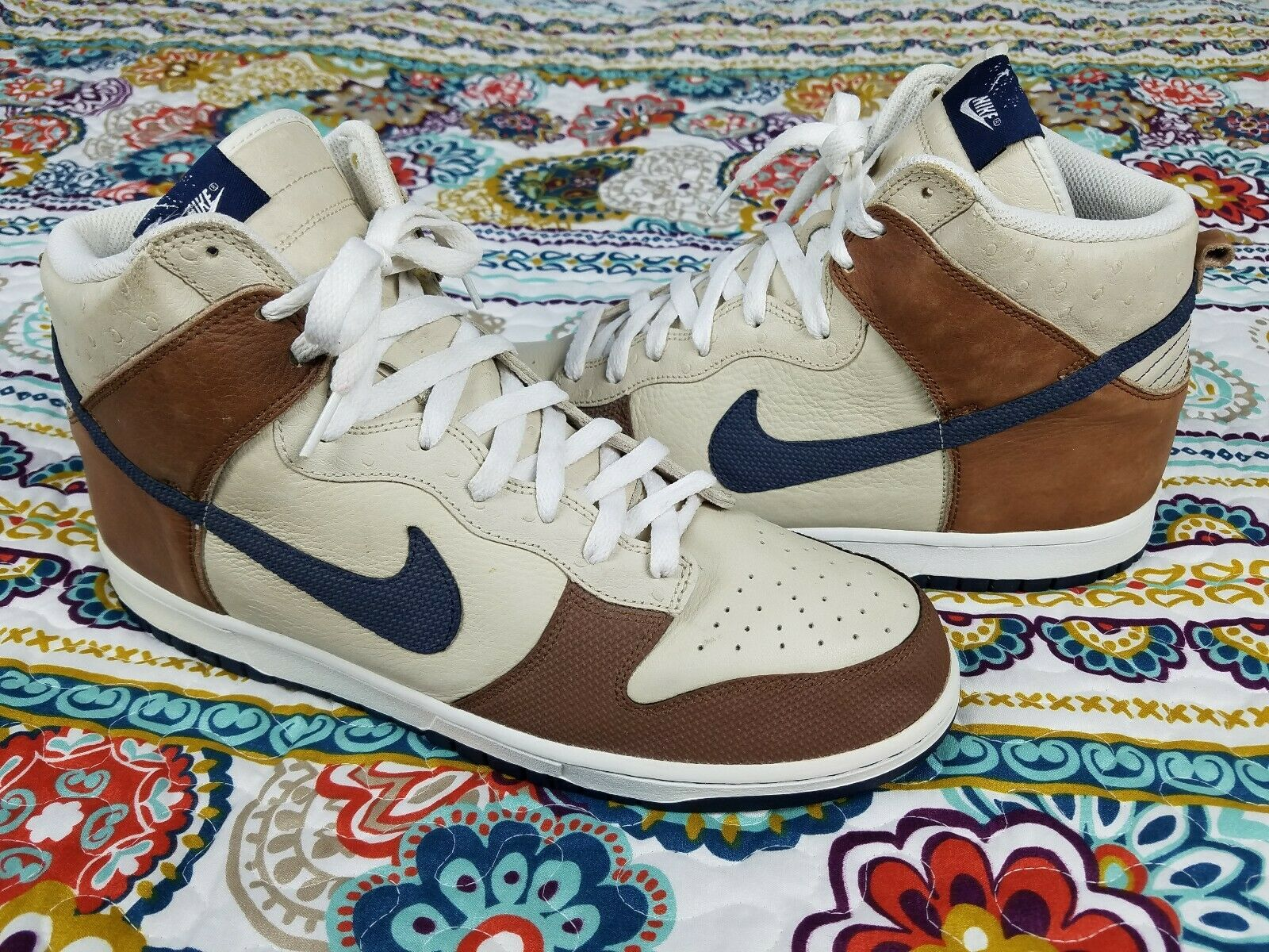 Nike Air Dunk SB High 2007 Ostrich Leather Tobacco Brown Sz 13 Mid shoes sneaker