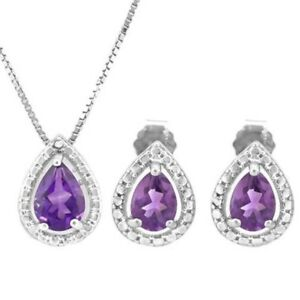 DemüTigen Set Jillian, Anhänger/ohrstecker, 925 Silber, 1,148 Kt. Echter Amethyst/diamant