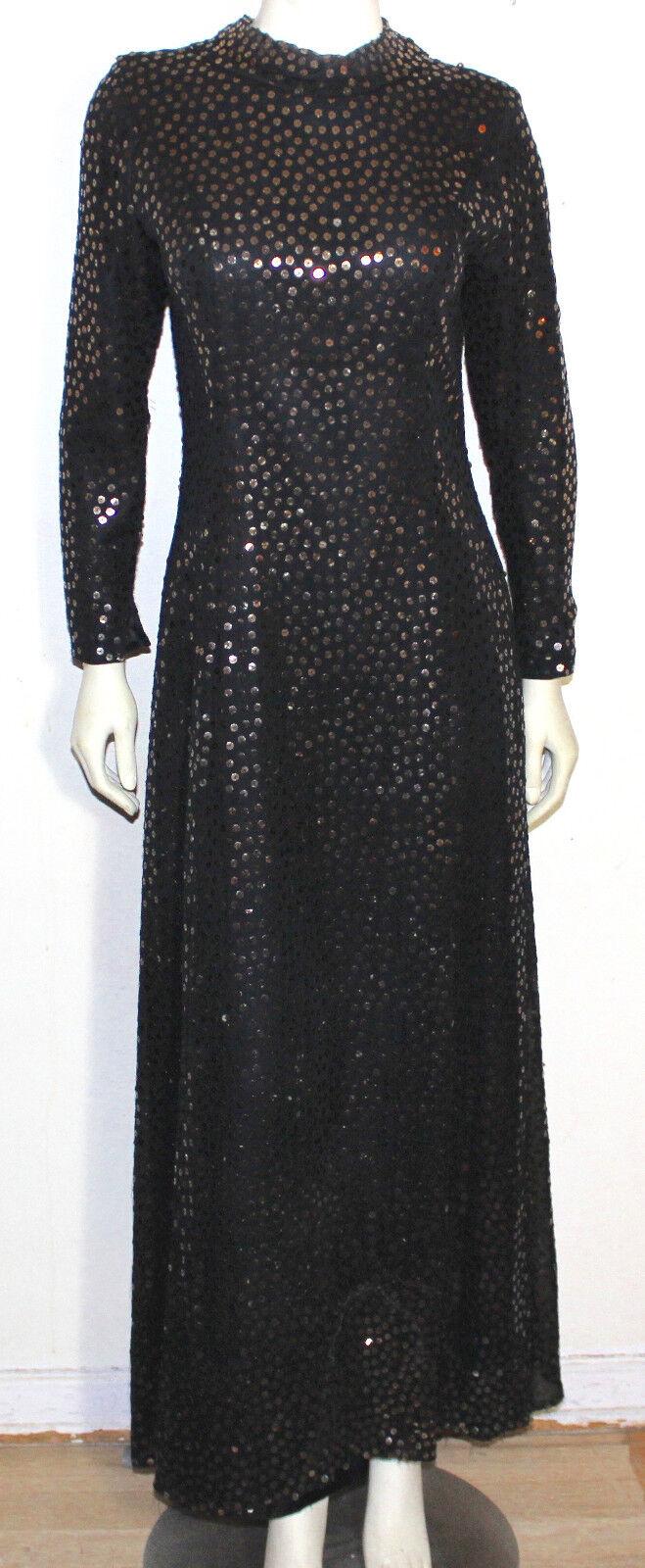 Vintage bronze sequin evening gown dress