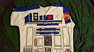 the best attitude 7d2ae b2791 Details about boston red sox sam travis signed game used sea dogs star wars  jersey