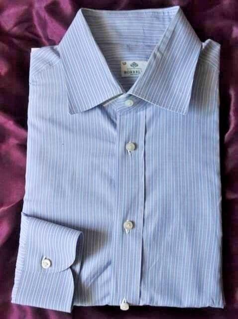 Borrelli Napoli Blau Striped 100% Cotton Dress Shirt  16 /41 sleeves 36/37