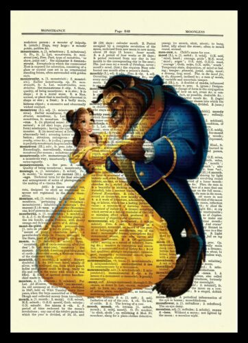 Beauty and the Beast Disney Dictionary Art Print Quote Poster Picture Belle Gift