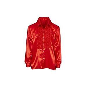 Satin-volants-shirt-rouge-XL-Disco-Hommes-1970-S-80-S-Annees-Hippie-Homme-mlxlxxl