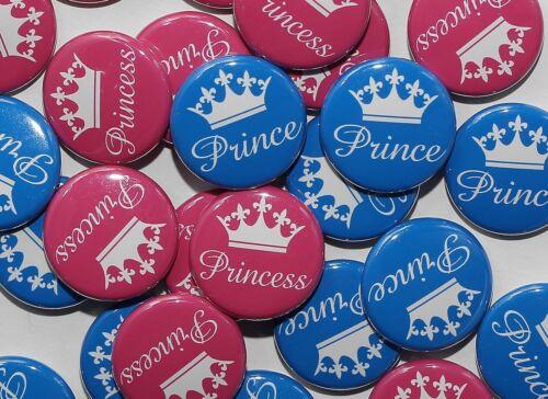"Prince /& Princess Pink Blue Gender Reveal 100 Baby Shower 1/"" Pinbacks"