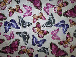 Butterfly-Realistic-Butterflies-Paris-Cream-Cotton-Fabric-BTHY