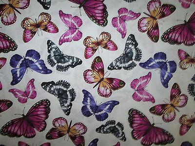 Butterfly Realistic Butterflies Paris Cream Cotton Fabric BTHY