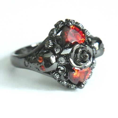 Anillo de mujer negro rojo Gothic anillo muertos cabeza anillo con corazón y Rose talla 52-62