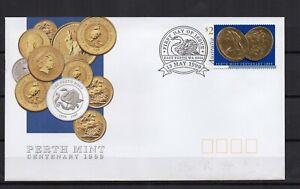 AUSTRALIE-Monnaie-Perth-Mint-Sovereign-1999-1-timbres-sur-1-enveloppe-FDC