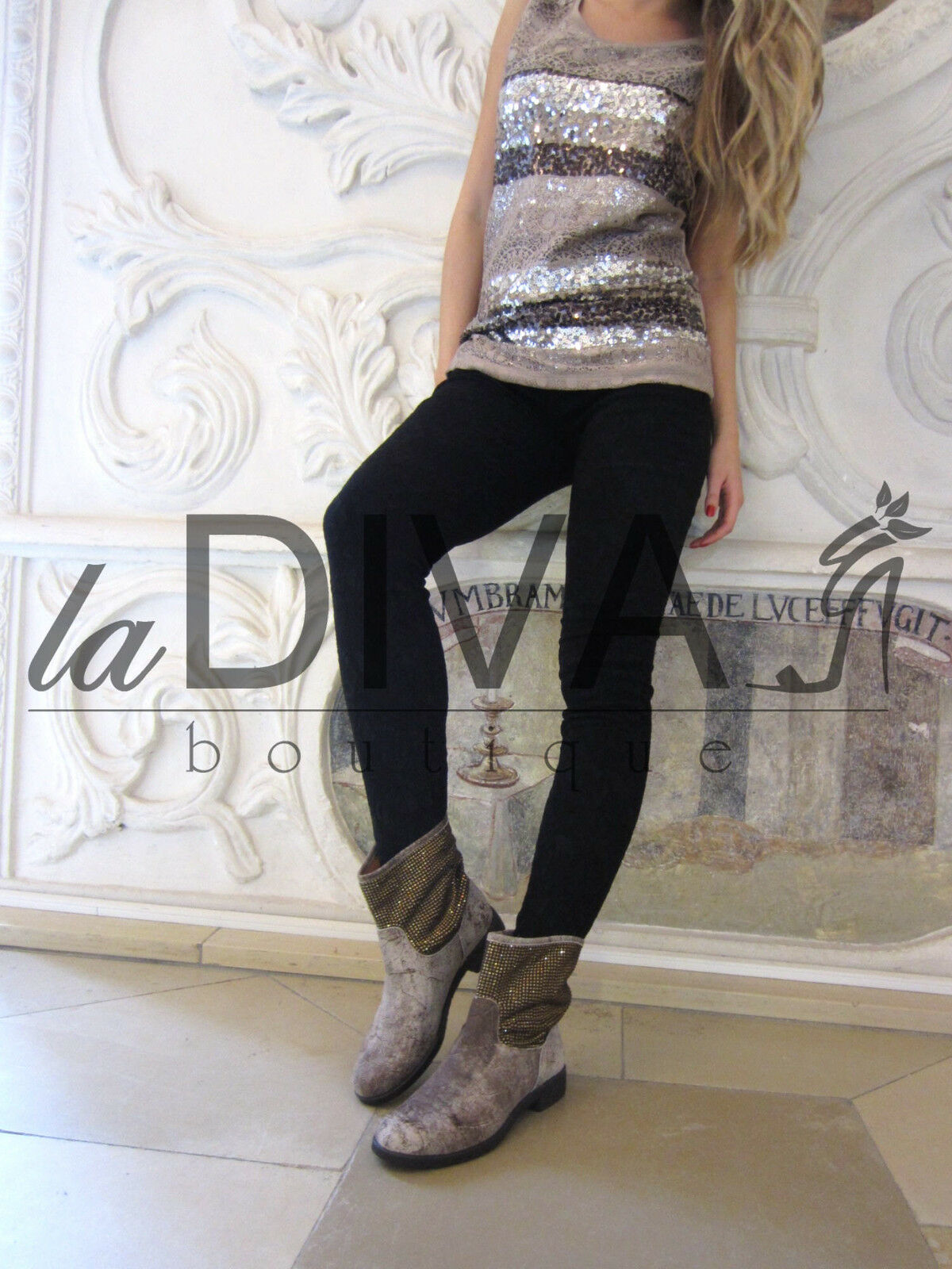 ALBERTO VENTURINI Strass Leder %SALE% Stiefelette Stiefel 35 taupe %SALE% Leder OVP a82642