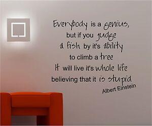 Image Is Loading Einstein Genius Inspirational Wall Art Quote Sticker Vinyl