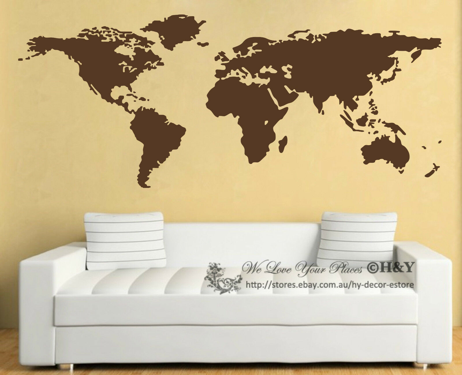 World Map Wall Art Vinyl Decal Stickers Home Decor Removable Mural ...