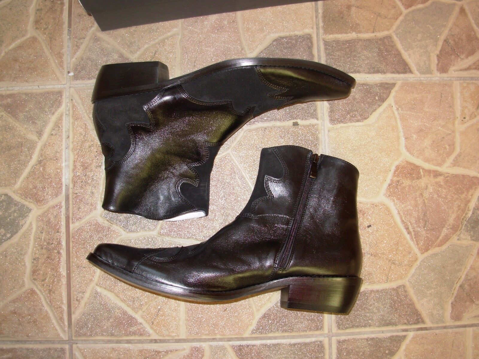 Comodo Black Hand made cowboy style boots eu. 44 Size Leather/Suede