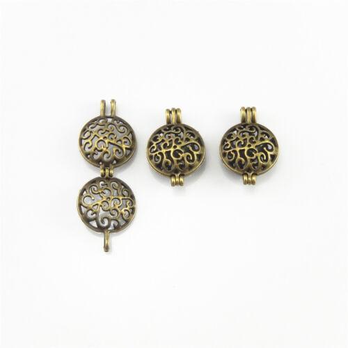 4 PCS Antiqued Bronze Alloy Round Hollow Locket Oil Diffuser Charms Pendants