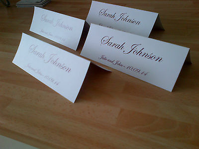 Personalised Wedding Name Place Table Cards Printed - Any Font and Colour
